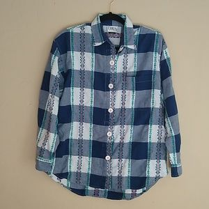 Vintage Plaid Nordic Button Shirt Sz L